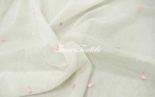 Ткань для штор Органза CASA DEL VELO цвет белый с розовым