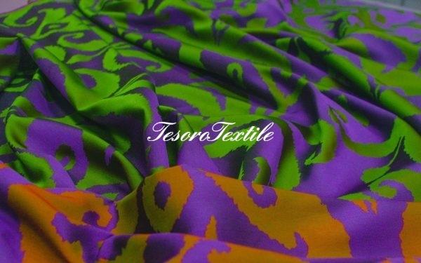 Портьерная ткань ILLUSTRE цвет фиолетовый с зеленым
