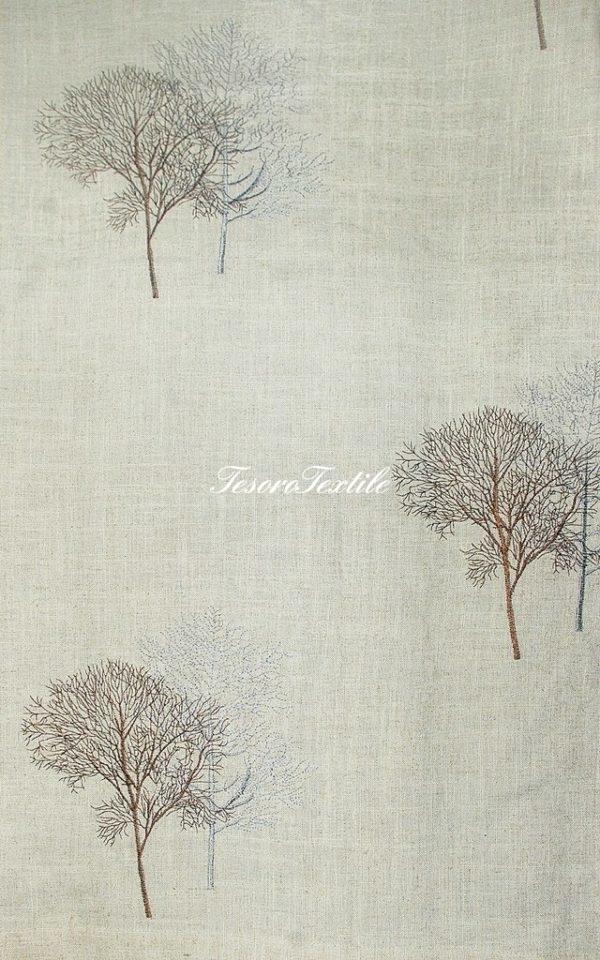Портьерная ткань FIORI цвет серебро/кофе