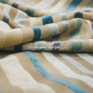 Ткань для штор Пан-бархат ILLUSTRE цвет голубые полосы