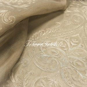 Ткань для штор Вуаль ASTON цвет хаки с вышивкой