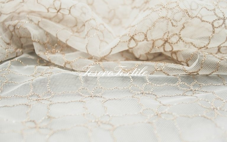 Ткань для штор Вуаль CASA DEL VELO цвет белый с бежевым
