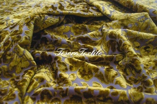Ткань для штор Пан-бархат ILLUSTRE цвет горчица