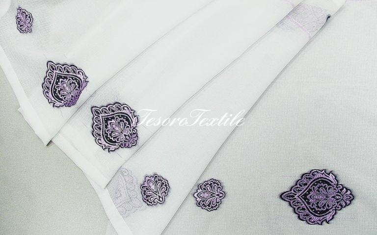 Ткань для штор Вуаль CASA DEL VELO цвет белый с фиолетовым