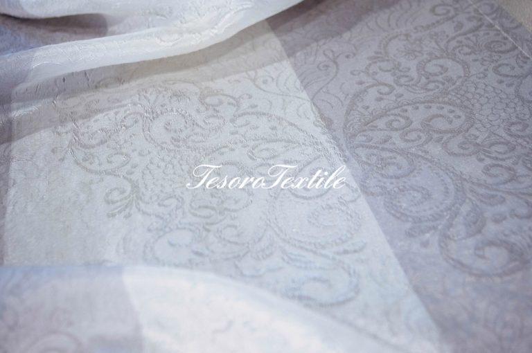 Ткань для штор Вуаль lEAF & FLOWER цвет серо-молочный
