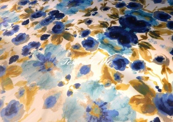 Ткань для штор Бархат GELIN GARDEN цвет горчично-голубые цветы