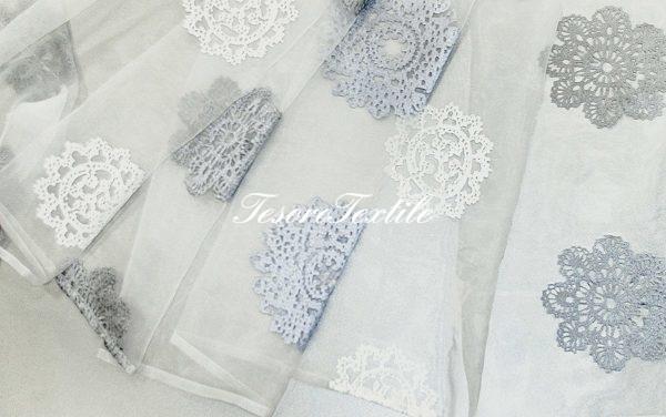 Ткань для штор Вуаль FIORI цвет серебро/белый