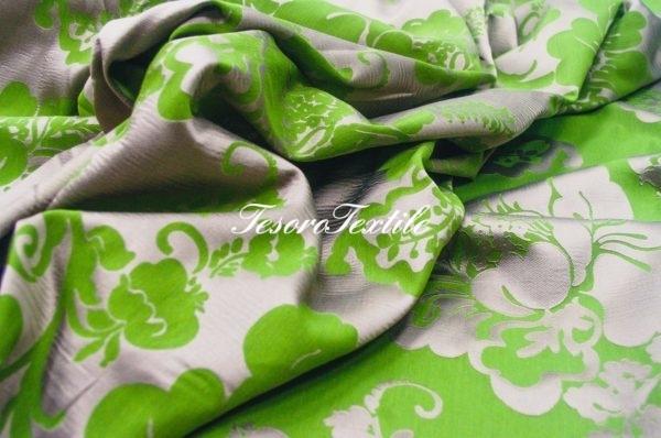 Ткань для штор Жаккард ILLUSTRE цвет зеленый с серым