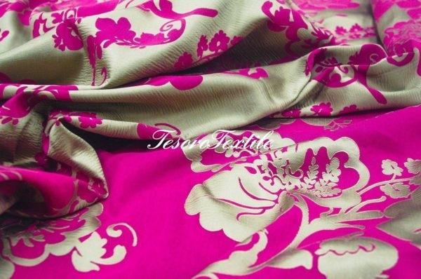 Ткань для штор Жаккард ILLUSTRE цвет фуксия с серым