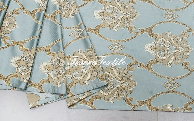Ткань для штор Жаккард JARDIN цвет голубой