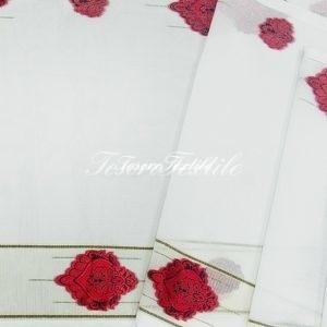 Ткань для штор Вуаль CASA DEL VELO цвет белый с красным