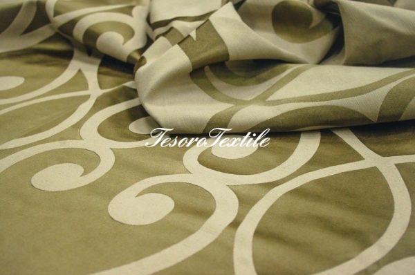Портьерная ткань ILLUSTRE цвет болотный с узором