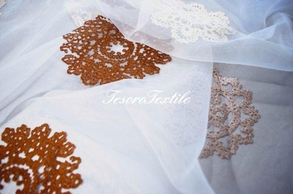 Ткань для штор Вуаль FIORI цвет кофейно-бежевый