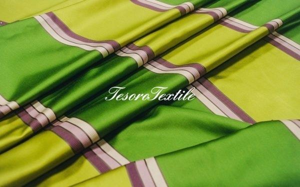 Портьерная ткань ILLUSTRE цвет зеленые полосы