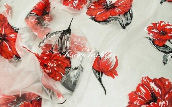 Ткань для штор Органза CASA DEL VELO цвет красный