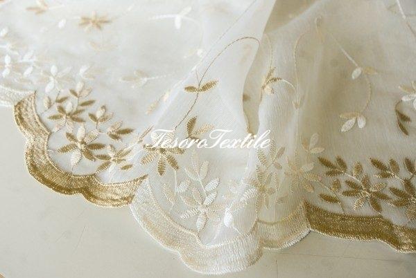 Ткань для штор Органза CASA DEL VELO цвет охра-молочный