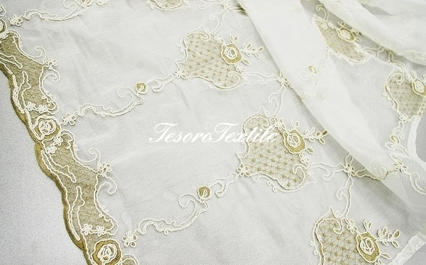 Ткань для штор Вуаль FIORI цвет кофейный