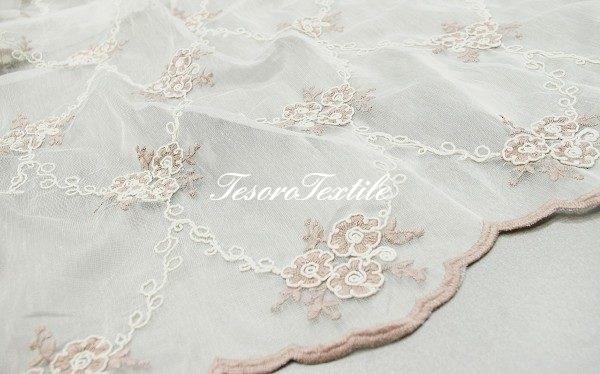 Ткань для штор Вуаль FIORI цвет персиковый